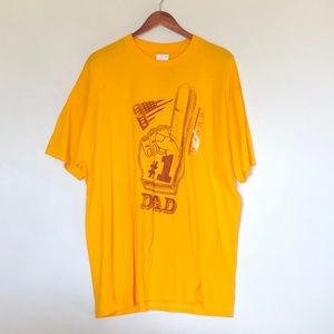 Well Worn LA #1 Dad Athletic Fit Tee Yellow XXL